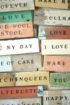 wooden signs from wood & wool stool