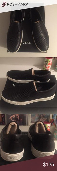 VINCE Men's Leather Ace Slip-on Sneakers VINCE Men's Ace Slip-on Sneakers. Size 8.5 M NWT in Box. Black Perforated Leather. Brand new never worn. Vince Shoes Sneakers