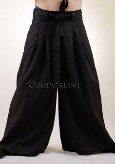 Black Japanese-style Samurai Linen Pants