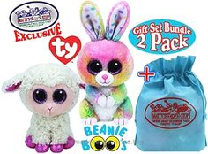 """b32bb1c77f4 TY Beanie Boos 2017 Easter Collection Bubby (Multi-color Bunny)   Twinkle  (Cream Color Lamb) Gift Set Basket Bundle with Bonus """"Matty s Toy Stop""""  Storage ..."""