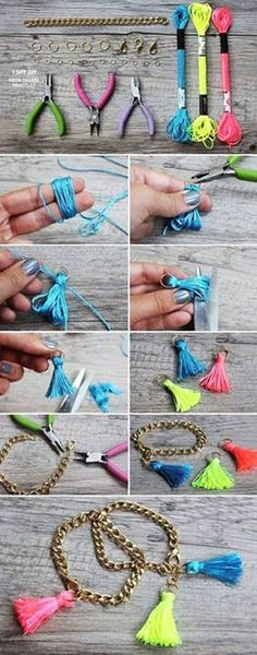 DIY Tassels chain bracelet