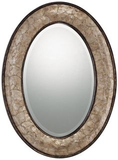 """Quoizel Sloan Oval 30"""" High Antique Wall Mirror -"""