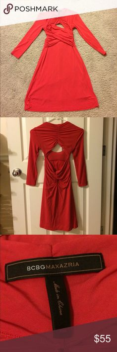 BCBG Red ruched dress BCBGMaxAzaria Red Dress / Ruched detailing on front and back / Sweetheart neckline / keyhole back / Size XXS / Pre-Owned / Tiny snag on wrist BCBGMaxAzria Dresses