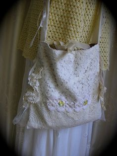 Layered Doily Bag handmade cotton vintage by TatteredDelicates, $115.00