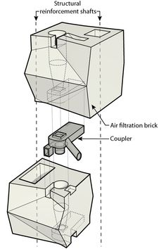 Imagen 8 de 10. Los módulos de Breathe Brick están conectados a través de un acoplador que ayuda en la recogida de partículas, protege el ciclón y facilita la alineación del módulo durante la construcción. Imagen. Image © Carmen Trudell & Natacha Schnider