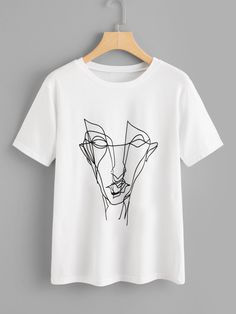 Shop Abstract Graffiti Print Tee online. SheIn offers Abstract Graffiti Print Tee & more to fit your fashionable needs. Shirt Embroidery, Embroidery Fashion, Embroidery Designs, Nova Clothing, T Shirt World, Diy Fashion, Fashion Design, Fashion Clothes, Trendy Fashion