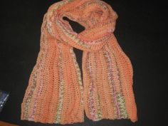 Crochet Scarf Cream or Pastel Orange with touch of by melsumn1, $23.00
