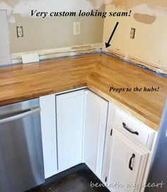 How to Install IKEA Butcher Block Countertops~ I would think this would work for any type of counter tops