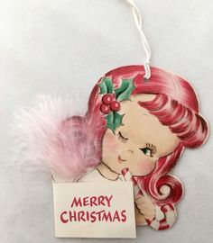 Unused Vintage Norcross Gift Tag Redhead Girl Pink Feather Candy Cane Card NOS | Collectibles, Paper, Vintage Greeting Cards | eBay!