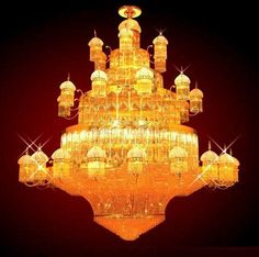 Diameter 300 cm Large crystal chandelier in gold plated finish - Large crystal chandeliers Large Chandeliers, Crystal Chandeliers, Large Crystals, Swarovski Crystals, It Is Finished, Bling, Ceiling Lights, Jewels, Diamond