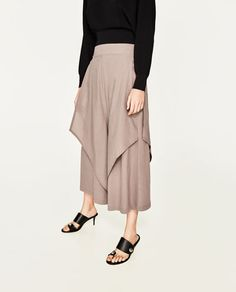 Image 2 of CONTRASTING FLOUNCED TROUSERS from Zara