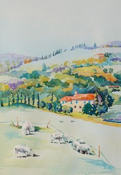 nancy orme mysak - watercolor of Italian hillside