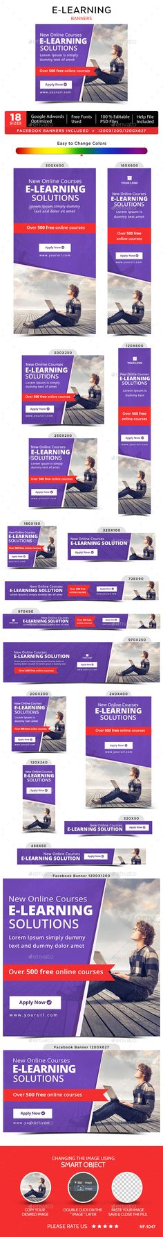 E-Learning Web Banners Template PSD. Download here: http://graphicriver.net/item/elearningbanners/14830526?ref=ksioks
