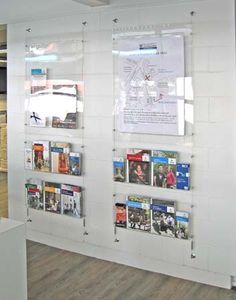 Brandstand NZ - Cable Wall Mounted Poster Display with leaflets and brochure holders. Church Lobby, Church Foyer, Church Office, Brochure Display, Brochure Holders, Poster Display, Display Wall, Church Interior Design, Church Design