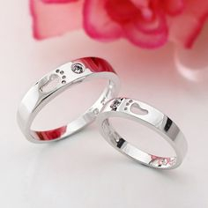Lovely Footprint 925 Sterling Silver Plated 18K White Gold Cubic Zirconia Lovers Rings