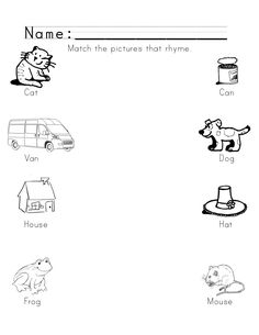 Matching Rhyming Pictures and Words  Rhyming Worksheet for