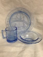 Vintage Blue Mother Goose Nursery Rhyme Tiara Glass Baby Feeding Set Dishes Gift