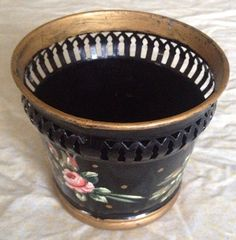 Antique French tole painted metal planter