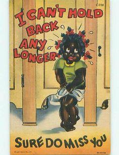 BLACK GIRL NEEDS TO PEE - Americana postcard