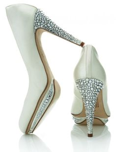Rhinestones in the small platform as well as heel..wedding shoes that definitely SPARKLE!