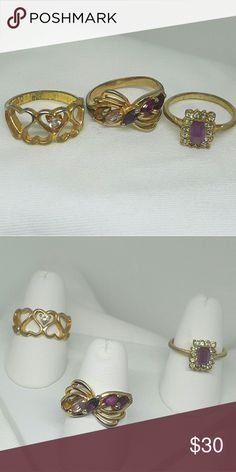 3 Vintage Estate Rings I recently obtained a group of rings from auction, and these are some of them. The lady told me they were from the estate of an elderly woman from Belgium, and she loved her rings!  I'm listing these as unmarked, but one of them has a mark I just can't read, and another might have a mark on it. All are very pretty regardless.   All size 7 1/2.  Feel free to make me offers! More estate & brand new Cocktail rings, in my other listings. Jewelry Rings