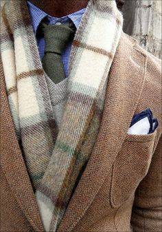 Now that fall is here, a men's ascot in cashmere is a handsome look, along with a wool vest and check out those pocket hankerchiefs.................