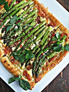 Roasted Asparagus, Bacon & Cheese Tart. Hold the bacon please:)