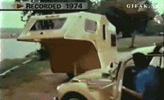 VW Beetle Towing Trailer Animated GIF