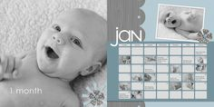 """Love this idea for a baby calendar to remember their """"firsts"""" Baby Calendar, Calendar Layout, Scrapbooking Layouts, Scrapbook Pages, Digital Scrapbooking, Photo Projects, Cool Diy Projects, Baby Boy Scrapbook, Creative Memories"""