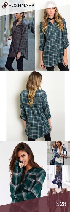 | new | Green Plaid Button Up Flannel Top Incredible must have for fall! Boyfriend fit, long sleeved. Looks perfect all buttoned up or open over crop tops, bralettes or a cute top. Roll the sleeves or leave them long. So many options! (None of tops in pic 3 are the same top, just used to show style). 100% Cotton  ✔️If you'd like to MAKE AN OFFER please do so through the offer button ONLY. I won't negotiate prices in the comments.  ✔️All items $15 and under are firm unless BUNDLED.  ❌No…