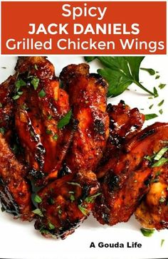Grilled Spicy Chicken Wings recipe from A Gouda Life Spicy Jack Daniels glazed grilled chicken wings ~ bold flavored, glazed grilled chicken wings. Chicken Wing Flavors, Chicken Wing Sauces, Chicken Wing Recipes, Sauce For Chicken Wings, Grilling Chicken, Spicy Grilled Chicken, Grilled Chicken Wings, Grilled Buffalo Wings Recipe, Honey Chicken