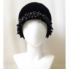 Vintage 1960s Black Velvet Christian Dior Bucket Hat with Jet Black Beading // 60s vintage Dior hat