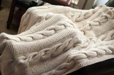 Cable Knit Afghan - This is the Lion Brand pattern only she knit all at once instead of one panel at a time. I like that better