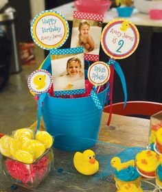 rubber ducky birthday theme | ... Yellow party favor buckets with take-home bubbles & a rubber duckies