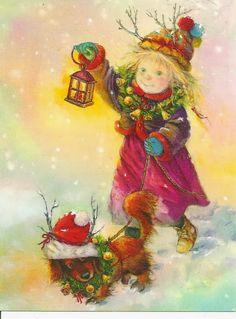 "Photo from album ""Lisi Martin Christmas Cards"" on Yandex. Christmas Scenes, Noel Christmas, Vintage Christmas Cards, Christmas Pictures, Christmas Greetings, Vintage Cards, Winter Christmas, Vintage Postcards, Illustration Noel"