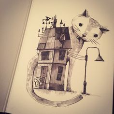 Cool cat illustration by Alfredo Cáceres (redolaf on instagram) - note the weather dragon on the roof :D!