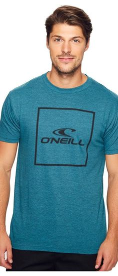 O'Neill Boxed Tee (Cyan Black Heather) Men's T Shirt - O'Neill, Boxed Tee, SP7118801-CYC, Apparel Top Shirt, T Shirt, Top, Apparel, Clothes Clothing, Gift, - Street Fashion And Style Ideas