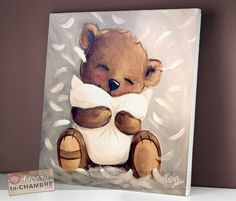 Tableau Ourson au Coussin 79, Tableau Nounours Art D'ours, Canvas Painting Projects, Bear Paintings, Woodland Art, Bear Illustration, Country Paintings, Bear Wallpaper, Cute Teddy Bears, Bear Art