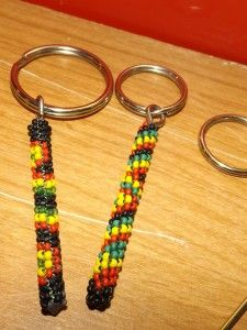 Peyote Stitch Keychains Red Gold Green and Black Rasta Reggae colors