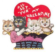 """Vintage Greeting Card Die-Cut Cat Kittens Basket """"All Set Fur My Valentine"""""""