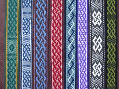 Seven sashes. Six are variations on the Celtic knot pattern. One is a 2 color twist that I made up. I've always loved Cetlic knotwork and enjoy weaving these. Woven from wool and cotton on my inkle looms. by Annie MacHale #celtic knot #inkle weaving #ASpinnerWeaver