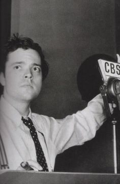 Orson Welles during a radio broadcast, 1930s
