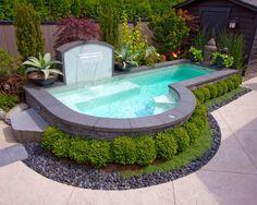 une petite piscine de jardin de forme intéressante