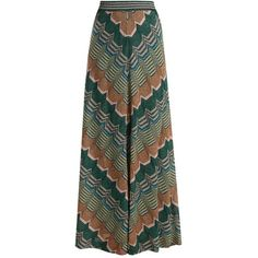 Missoni Geometric-knit flared skirt ($1,450) ❤ liked on Polyvore featuring skirts, green multi, high waisted skater skirt, green skater skirt, high-waist skirt, flare skirt and bohemian skirts