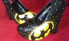 DUDE!  This person Created the PERFECT pair of shoes for a funky Batman themed bachelorette party!!!!  A BATMAN THEMED BACHELORETTE PARTY!  someone i know needs to throw a party like that!!!  ;)