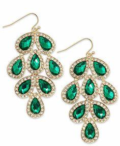 Inc International Concepts Earrings Gold Tone Green Stone Leaf Chandelier Fashion Jewelry
