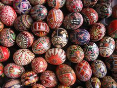 Pysanky Eggs...these are very time consuming and a pain for perfectionists, but the end result is awesome; I still have both of mine from high school