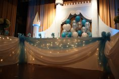 Castle decor behind the head table. Ukrainian Hall in Hartford, CT
