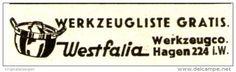 Original-Werbung/ Anzeige 1938 - WESTFALIA WERKZEUGE / TÖPFE - HAGEN - ca. 45 x 10 mm