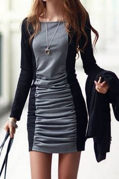 Love Love LOVE this Dress! Grey and Black Casual Square Neck Long Sleeves Color Spliced Pleated BodyCon Dress